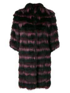 Guy Laroche striped fur coat - Black