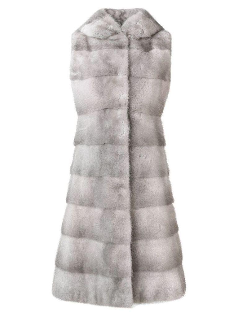 Liska fur detail coat - Silver