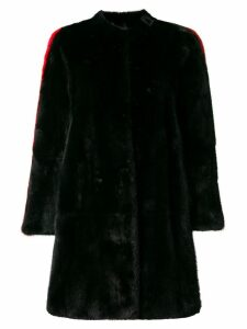 Philipp Plein side stripe detail fur coat - Black