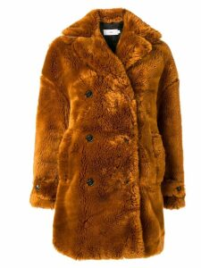 Closed faux fur coat - Brown