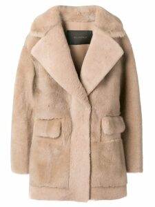 Blancha shearling overcoat - Neutrals