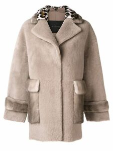Blancha leopard trim coat - Neutrals