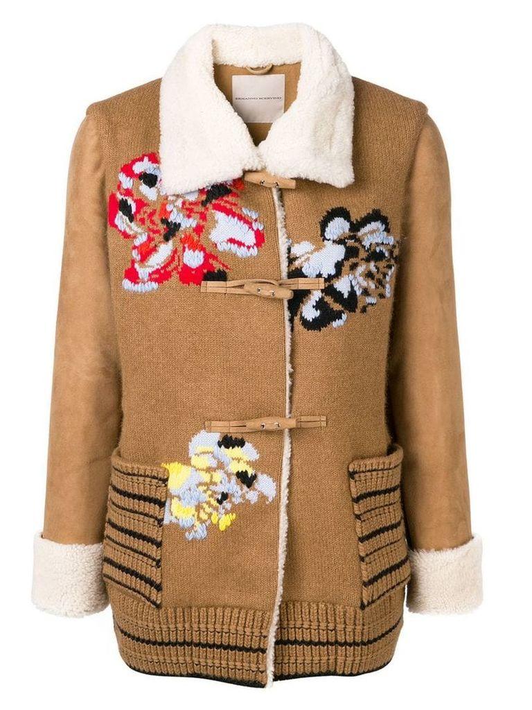 Ermanno Scervino floral embroidery short coat - Brown