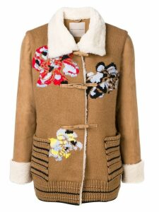 Ermanno Scervino floral embroidery short coat - Brown