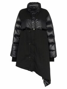 Unravel Project Asymmetric Padded Feather and Cotton Coat - Black