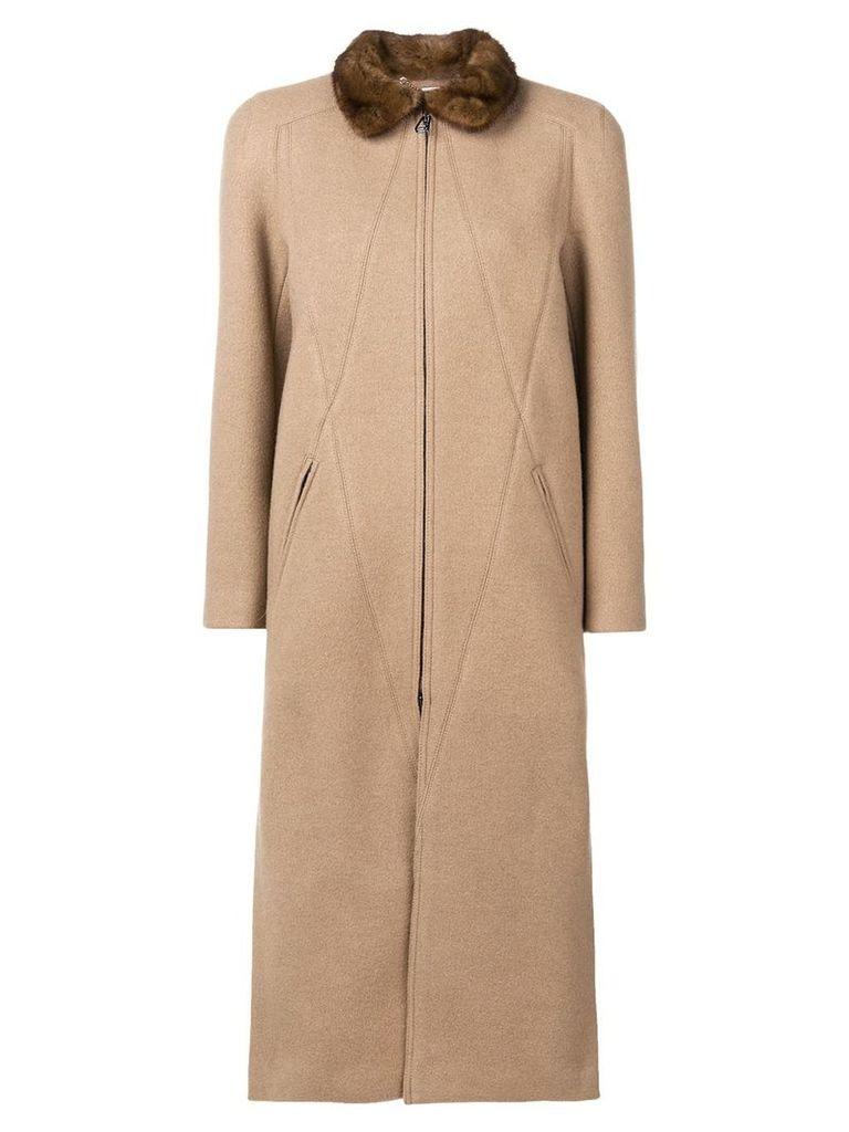 Fendi long zipped coat - Neutrals