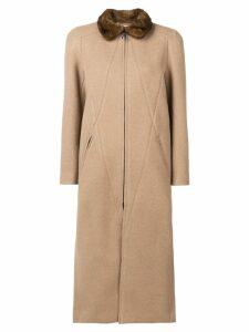 Fendi long zipped coat - Neutrals