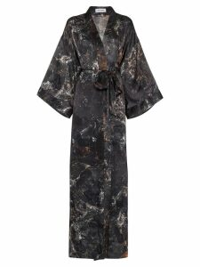 Märta Larsson Black Obsidian print long silk kimono