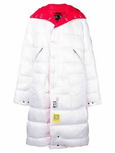 R13 reversible padded coat - White