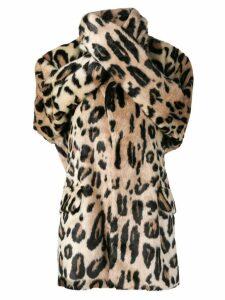 Junya Watanabe leopard print wrap coat - Brown