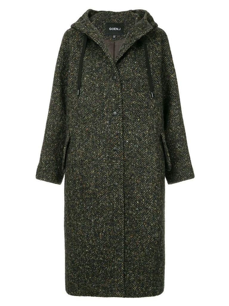 Goen.J hooded herringbone coat - Brown