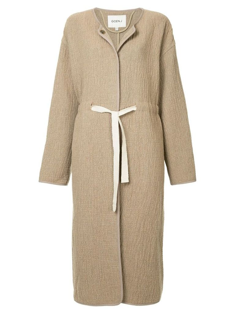 Goen.J tie waist oversized coat - Brown