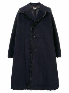 Comme Des Garçons oversized ruffle trim coat - Blue