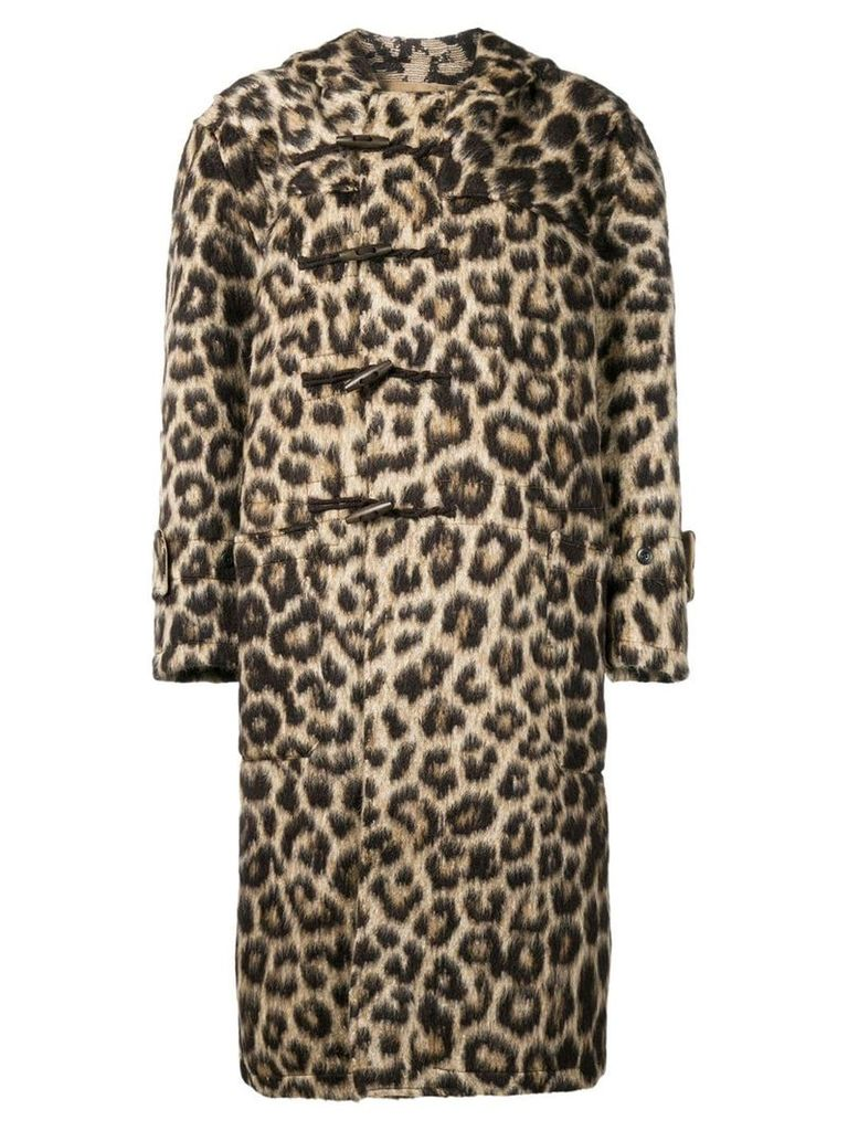 R13 leopard hooded jacket - Neutrals