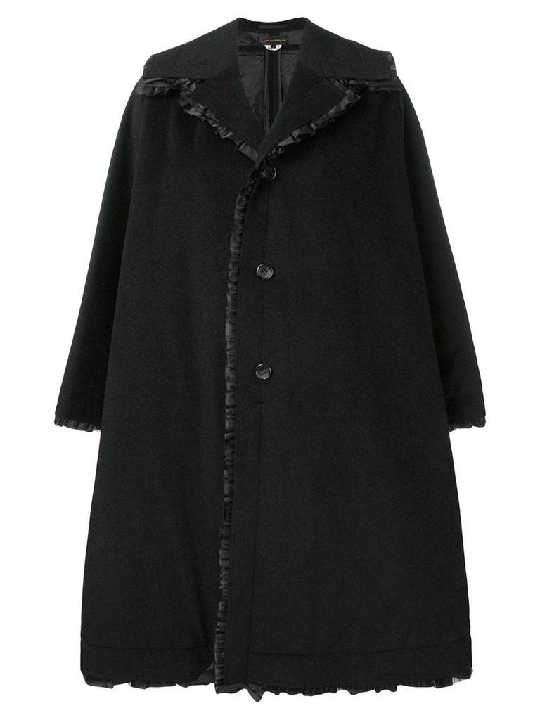 Comme Des Garçons oversized frill trim coat - Black