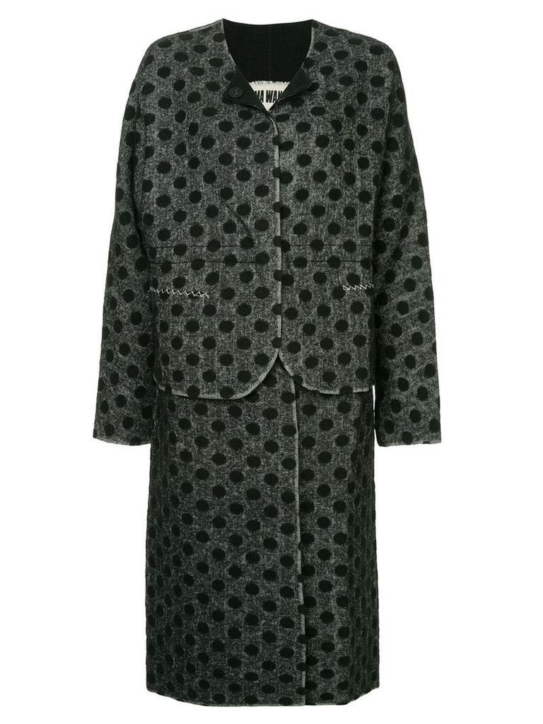 Uma Wang polka dot single breasted coat - Grey