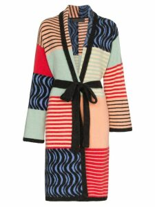 The Elder Statesman panelled belted cashmere coat - Multicolour