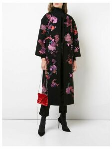 Josie Natori floral embroidered felted coat - Black