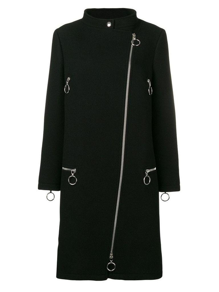 Moschino mock neck zipped coat - Black