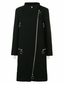 Moschino mock neck zipped coat - Black