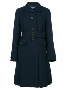 Prada pleated detail midi coat - Blue