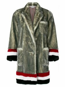 Thom Browne Single Breasted Sack Overcoat With Intarsia Red, White And