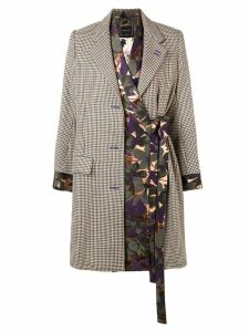 Snow Xue Gao contrasting panels midi coat - Brown