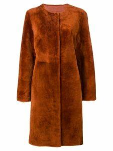 Luisa Cerano concealed fastening coat - Orange