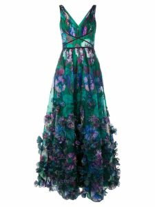 Marchesa Notte 3D floral embellished evening gown - Green