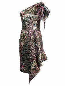 Josie Natori one shoulder jacquard dress - Black