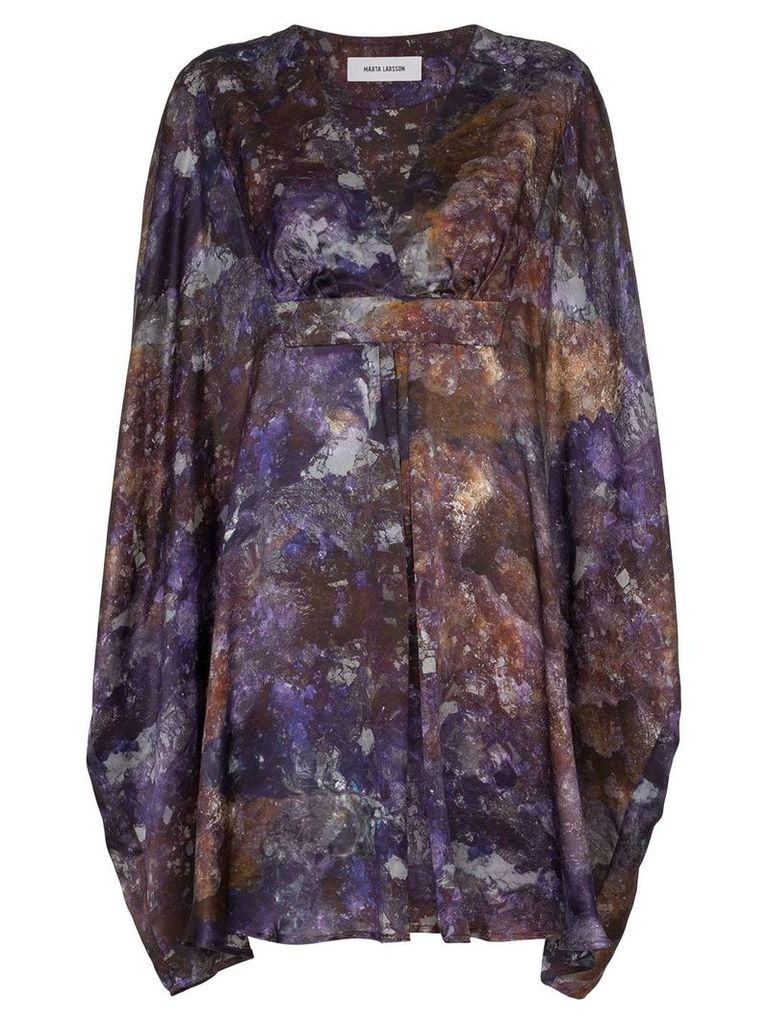 MÄRTA LARSSON amethyst printed silk kaftan dress - Purple