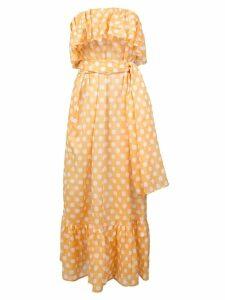 Lisa Marie Fernandez strapless ruffle midi dress - Yellow