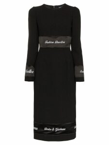 Dolce & Gabbana Logo print tape wool dress - Black