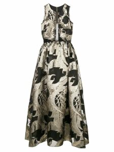 Marchesa Notte lace-embellished metallic dress - Black