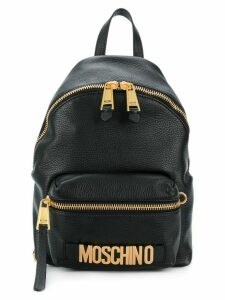 Moschino logo plaque backpack - Black