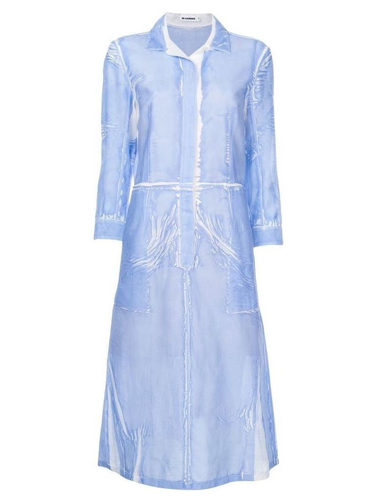 Jil Sander creased effect shirt dress - Blue