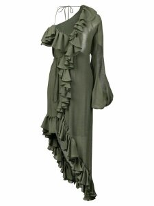 Juan Carlos Obando asymmetric ruffled dress - Green