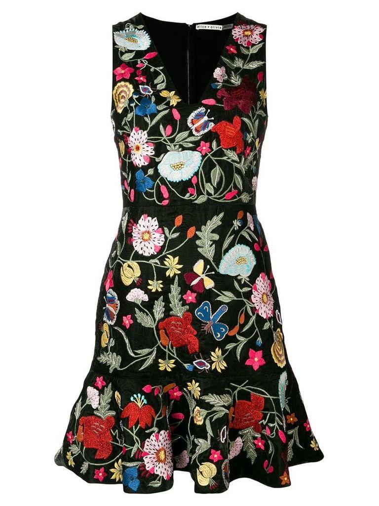 Alice+Olivia floral-embroidered dress - Black