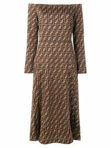 Fendi FF motif midi dress - Brown