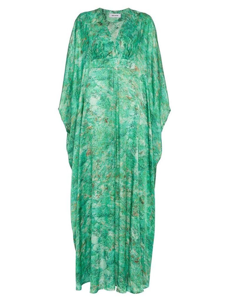 MÄRTA LARSSON Green Chrysocolla Printed Silk Kaftan Maxi Dress