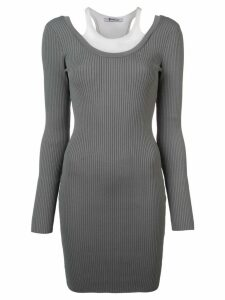 T By Alexander Wang ribbed knit fitted dress - Grey
