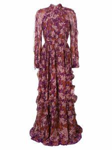 Giambattista Valli floral ruffle detail maxi dress - Pink