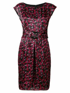 Emporio Armani geometric printed buckle dress - Black