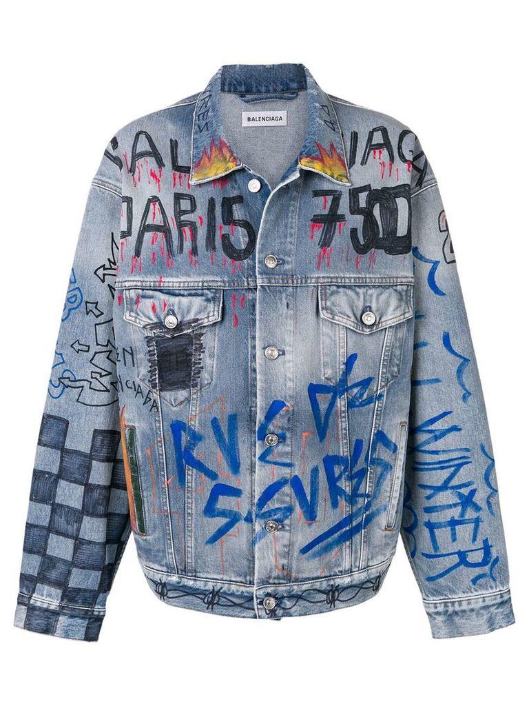 Balenciaga handwritten denim jacket - Blue