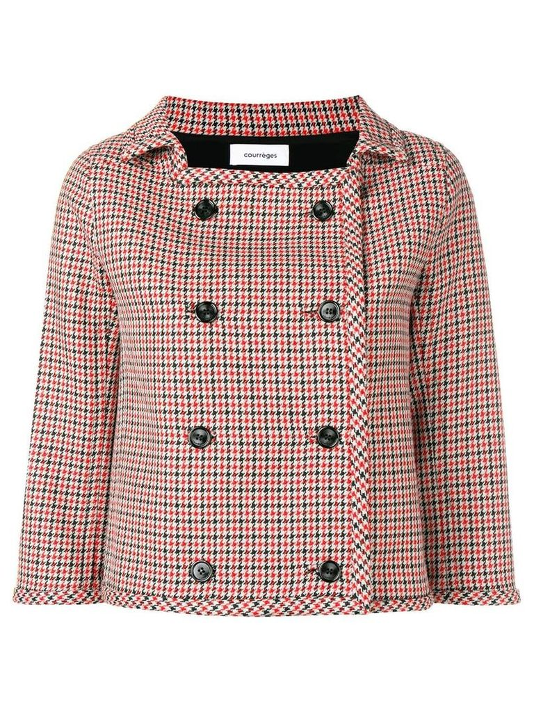 Courrèges houndstooth cropped jacket - Grey
