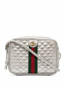 Gucci silver leather mini quilted bag with webbing - Metallic