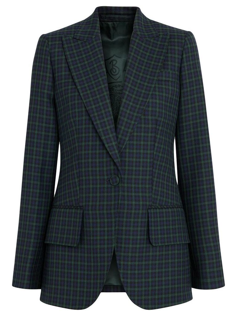 Burberry Check Stretch Wool Blazer - Blue