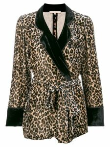 Gold Hawk leopard print velvet blazer - Brown