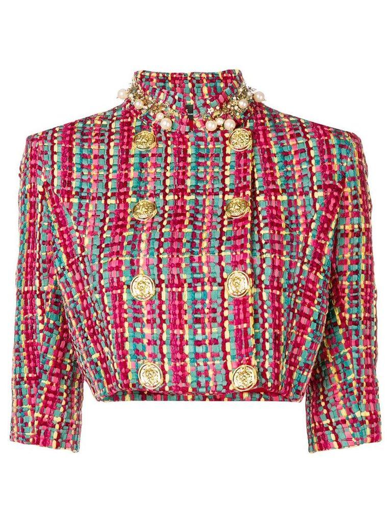 Elisabetta Franchi cropped tweed jacket - Blue