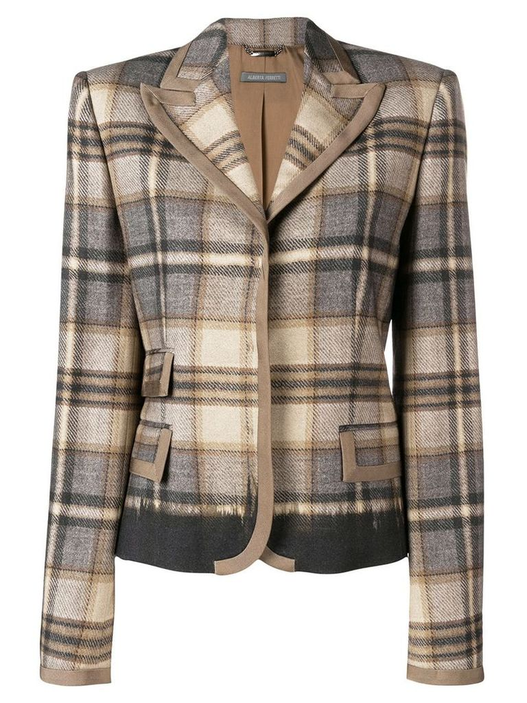 Alberta Ferretti check print fitted blazer - Brown